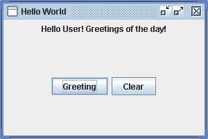 Greeting - UI, application use - anonymous inner classes